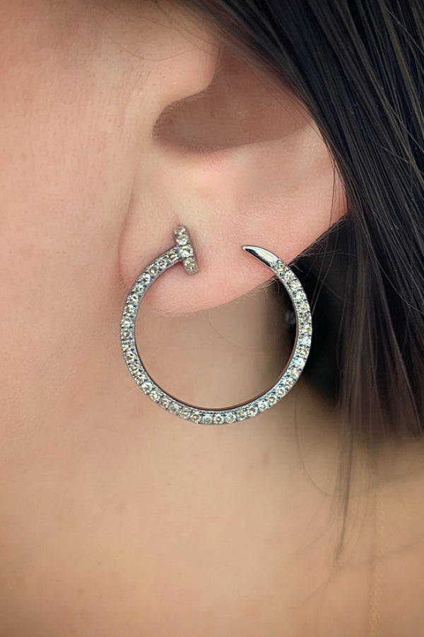 Silver Diamond Open Hoop Earring