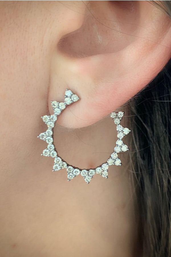 Silver Starburst Diamond Open Hoop Earring