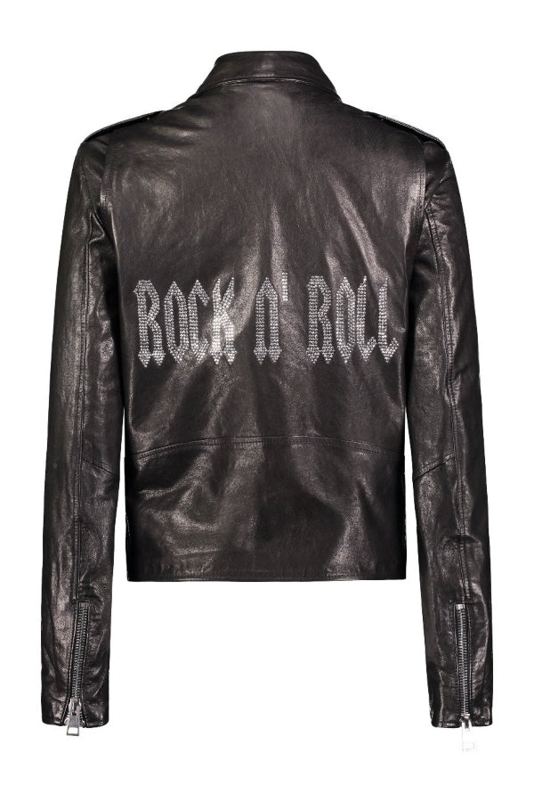 Rock-n-Roll Crystal Black Leather Jacket