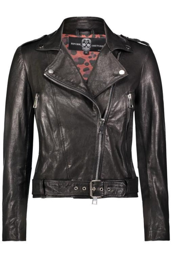 Butterfly Crystal Black Leather Jacket
