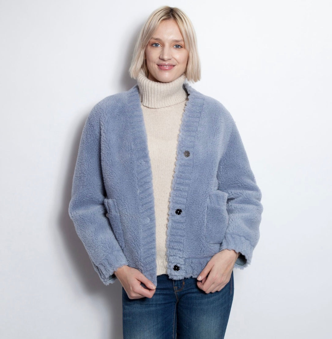 Blue Faux Shearling Sweater Coat
