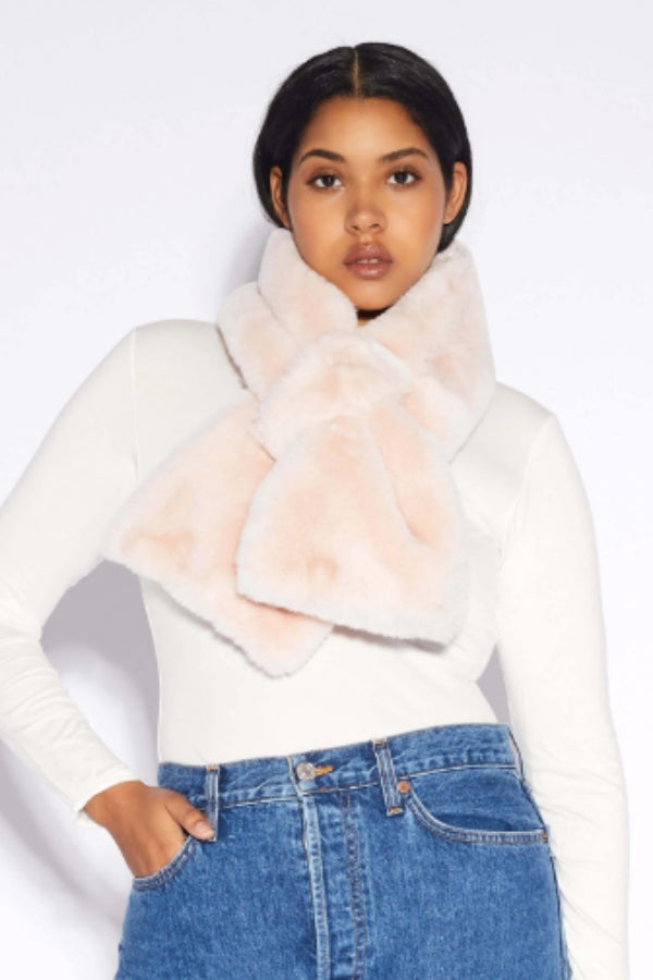 Blush Faux Fur Pull Through Scarf