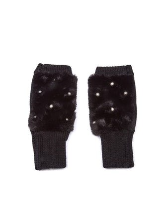 Jocelyn Black Embellished Fur Mittens