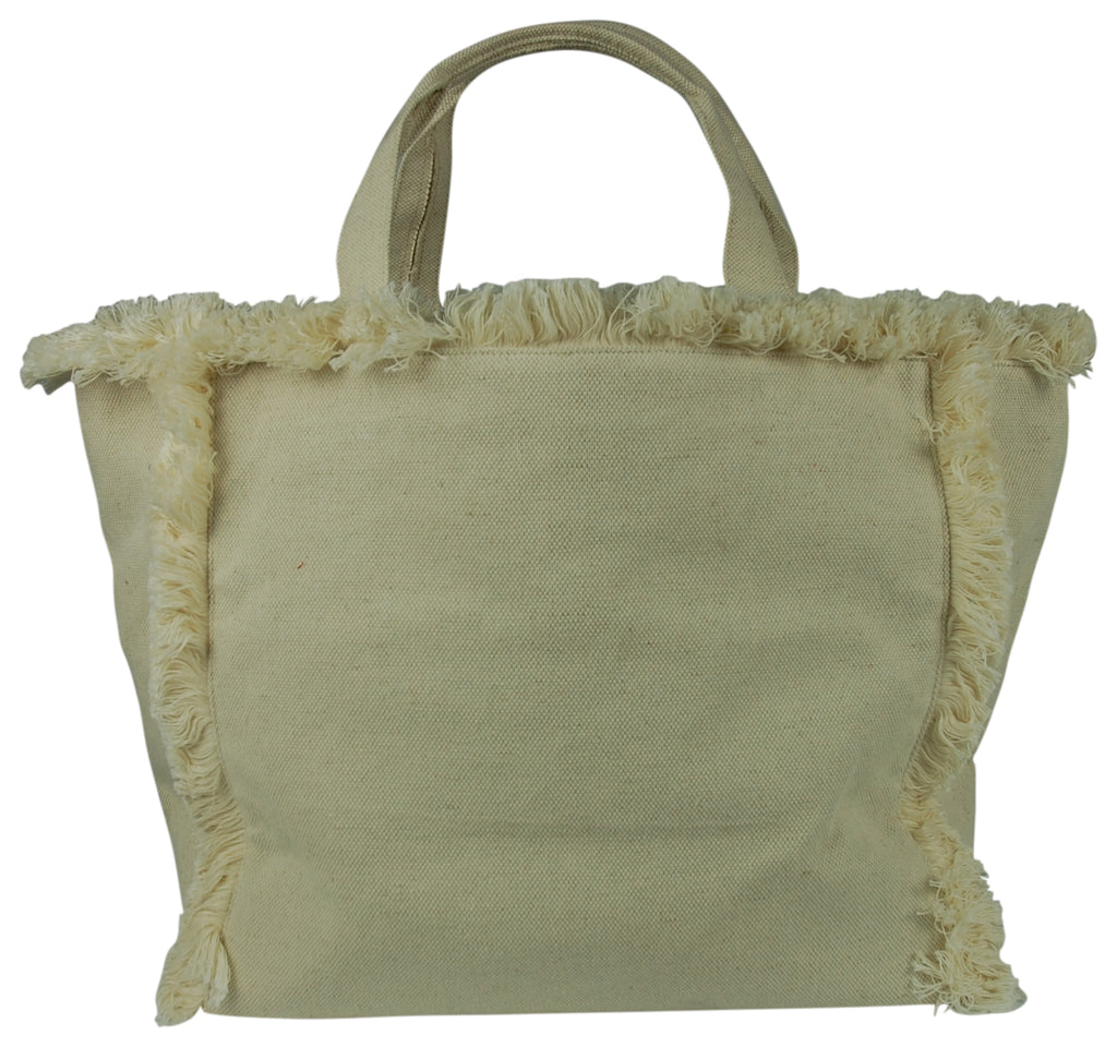 Natural Fringe Beach Tote