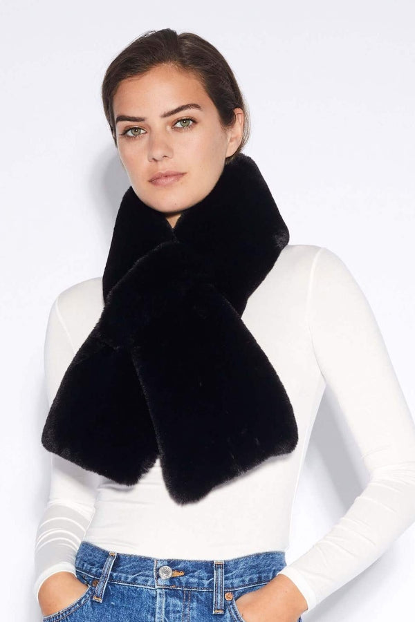 Black Faux Fur Pull Through Scarf