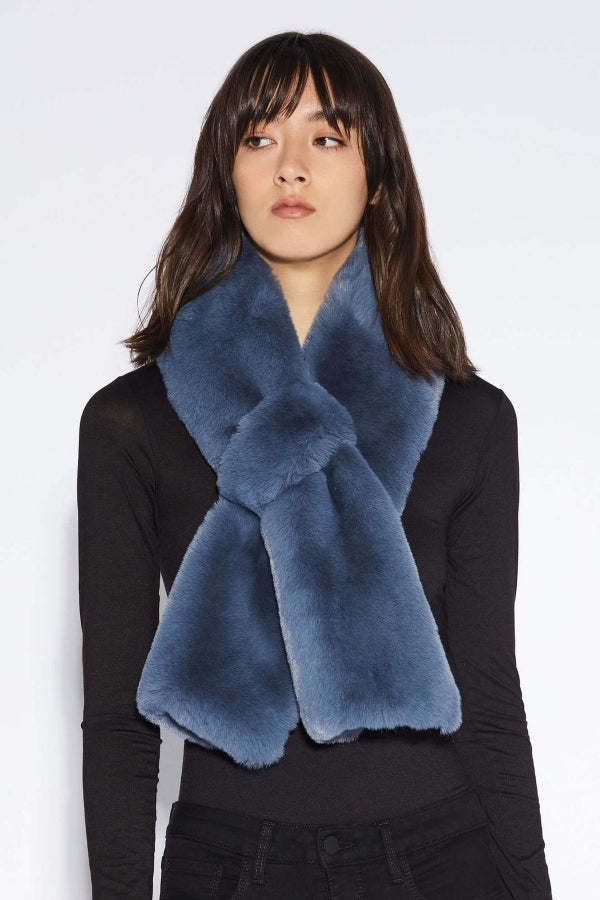 Steel Blue Faux Fur Pull Through Scarf