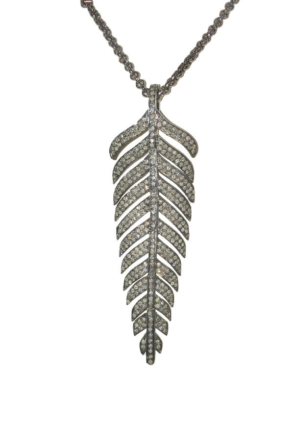 Necklace Oxidized & Diamond Pendant Feather