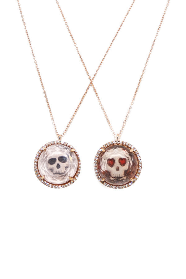 Necklace Diamond & Gold Skull w/ Crystal Dome