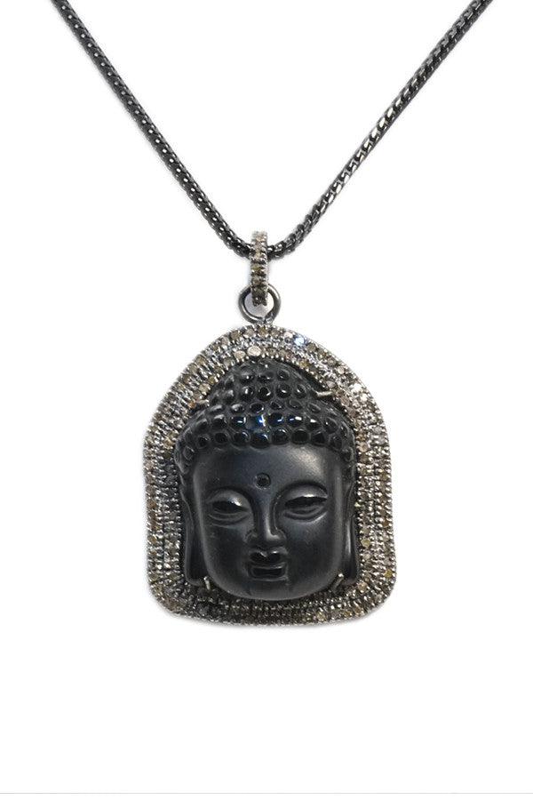 Necklace Oxidized & Diamond Pendant Black Onyx Buddha