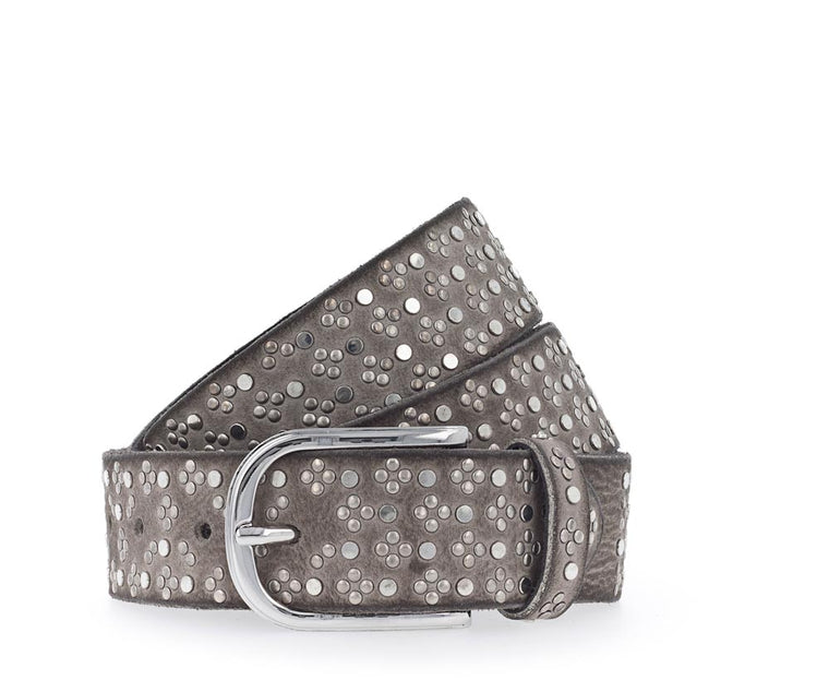 Taupe Gunmetal Studded Belt