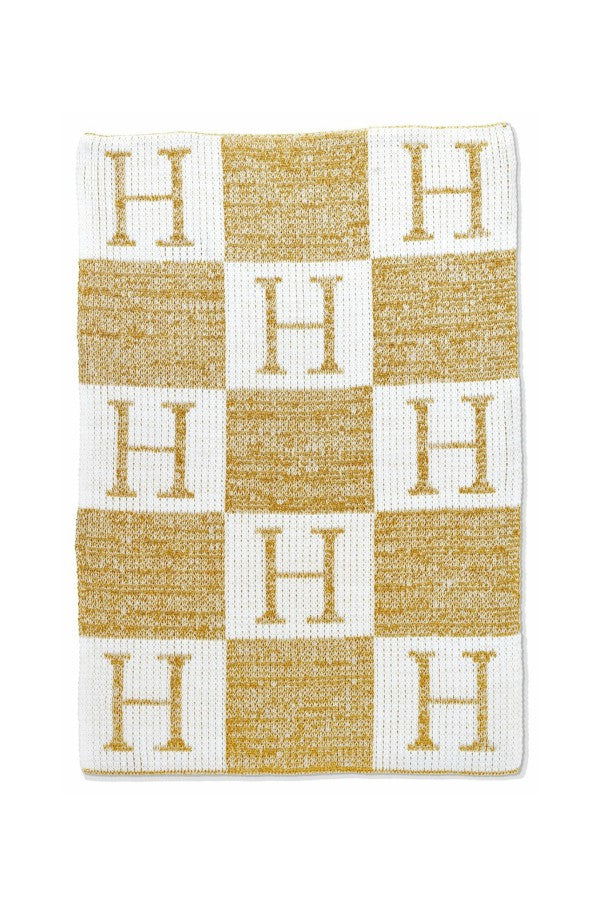 Butterscotch Metallic Initial & Blocks Custom Blanket