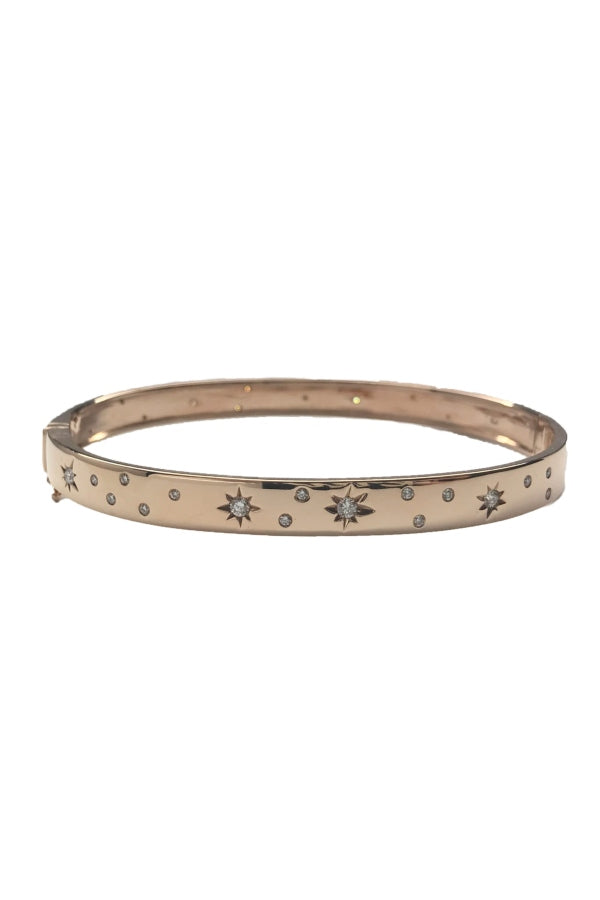 Rose Gold Starbursts Diamond Bangle