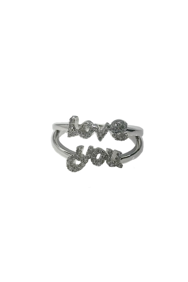 White Gold Love You Ring