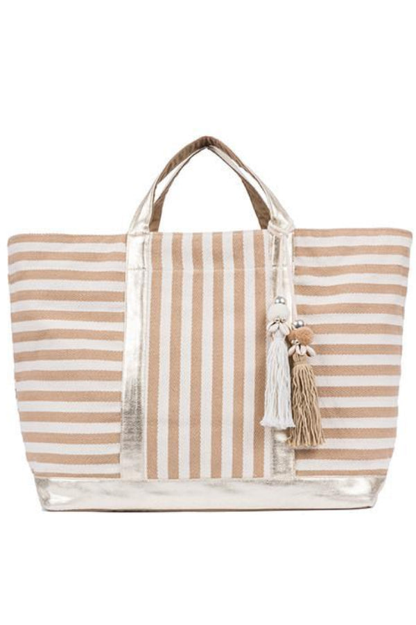 Sand Striped Puka Tassel Tote