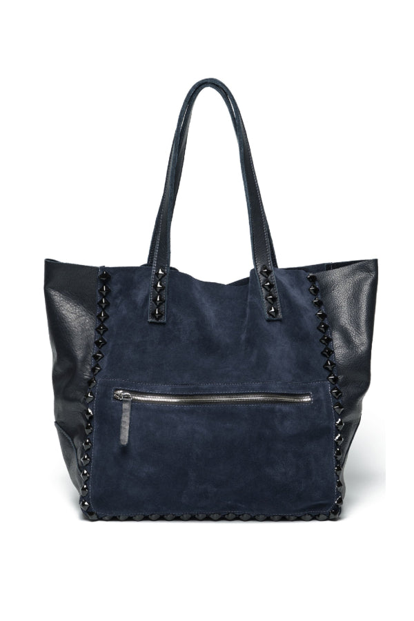Miley Suede Studded Tote Navy