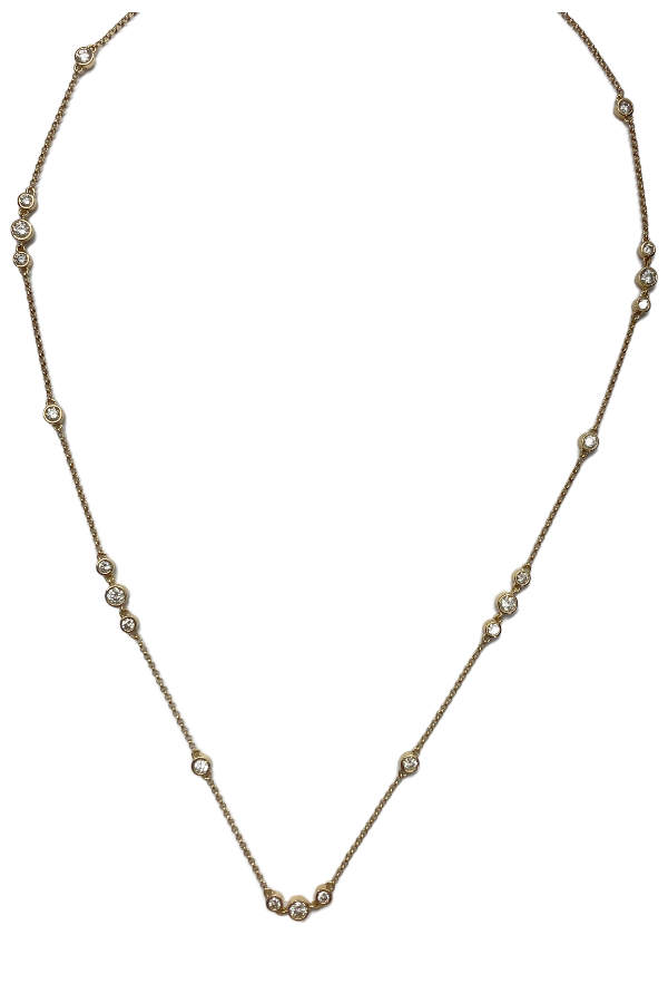 Gold Diamond Bezel Stations Necklace