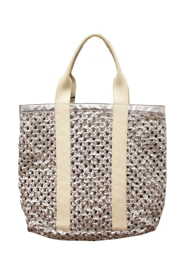 Silver Small Woven Leather & Canvas Tote