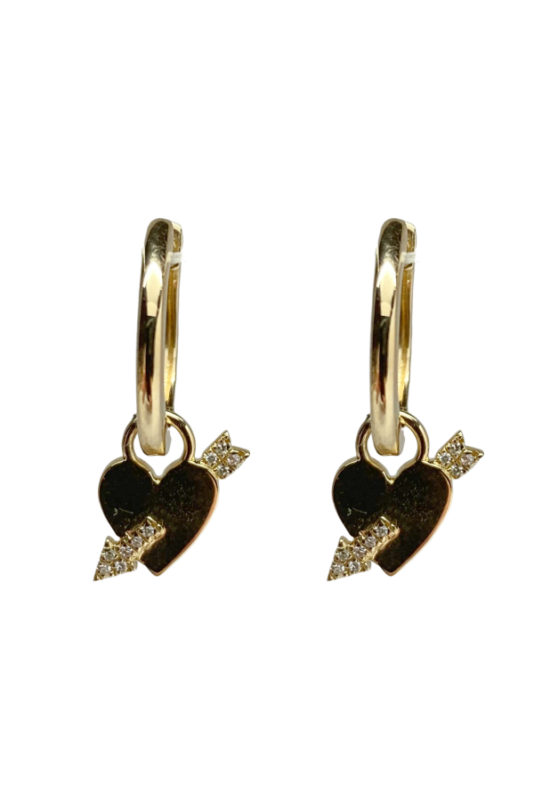 Gold Heart with Diamond Arrow Earring