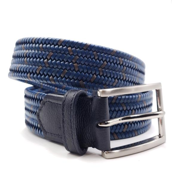 Men's Blue & Brown Leather Stretch Belt