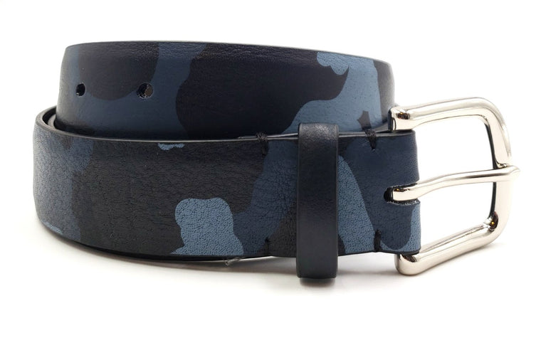 Men's Blue Leather Camouflage Print Belt