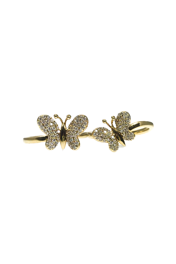 Gold Diamond Butterfly Double Ring