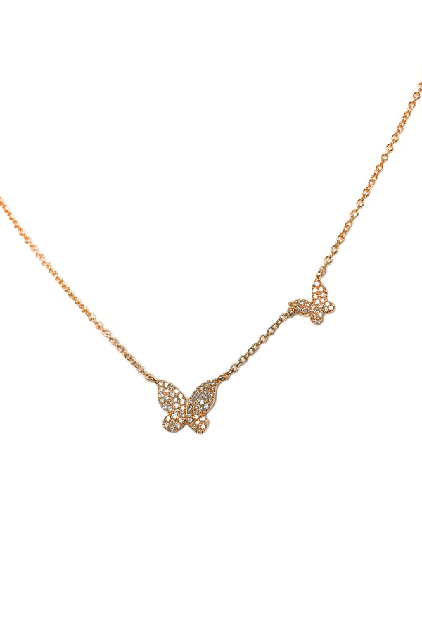 Rose Gold Diamond Double Butterfly Necklace