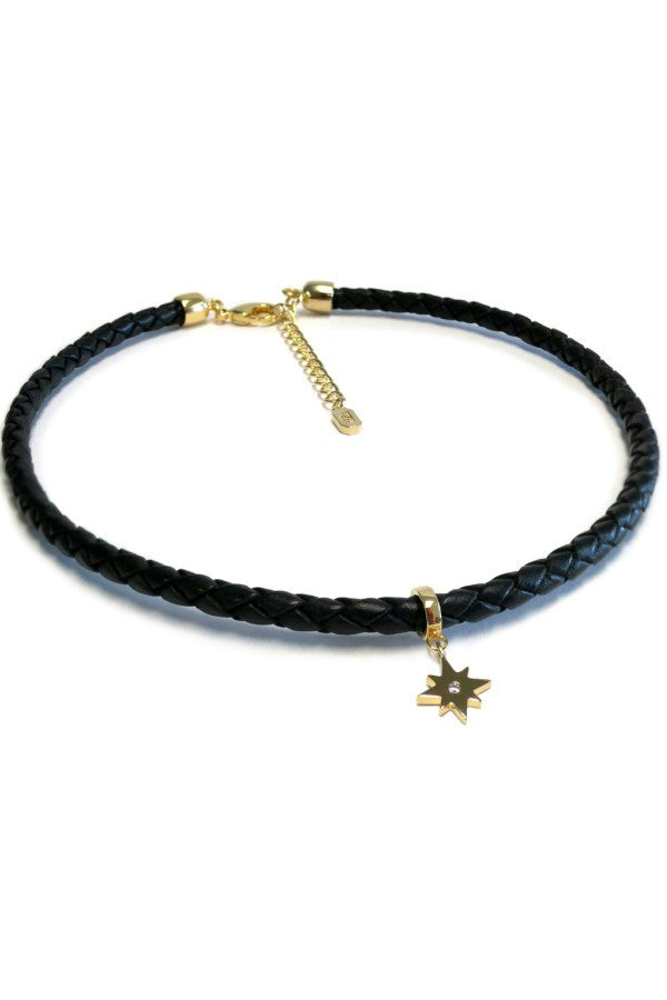 Braided Leather Choker w/ Mini Star Dangle Black