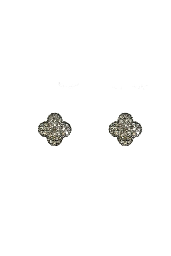 Silver Small Diamond Clover