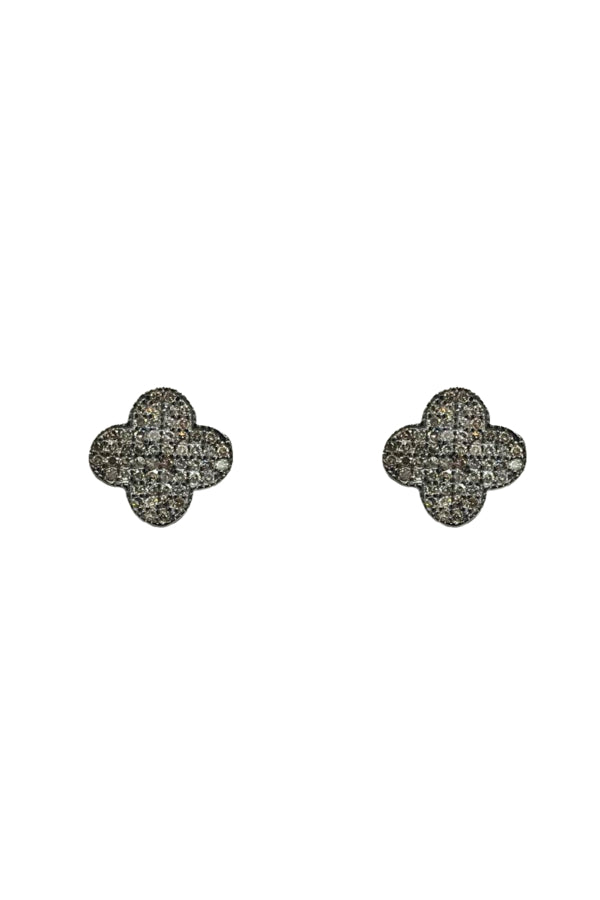 Silver Large Diamond Clover