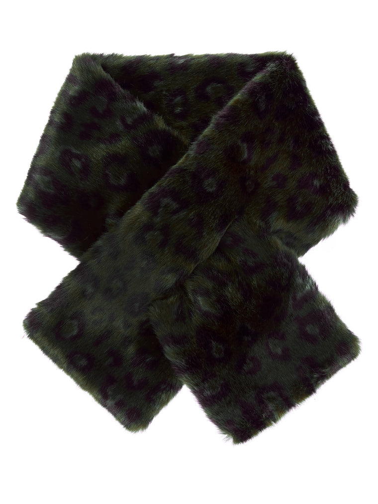Black & Green Leopard Pull-through Scarf