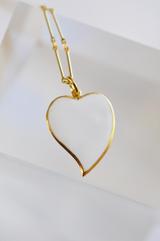 Enamel Curved Heart Pendants