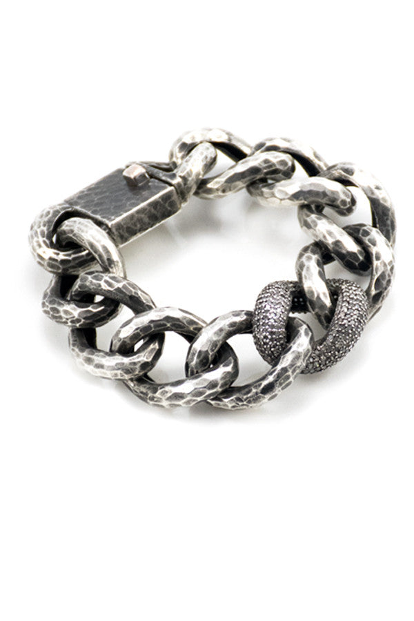 Bracelet Oxidized Silver Links w/ Pave Diamonds