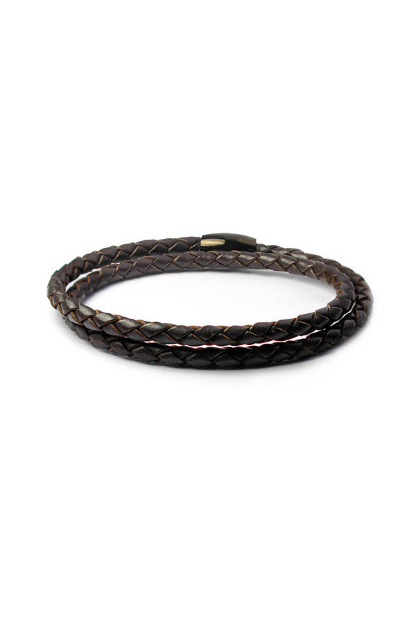 Men's Bracelet Braided Leather Wrap