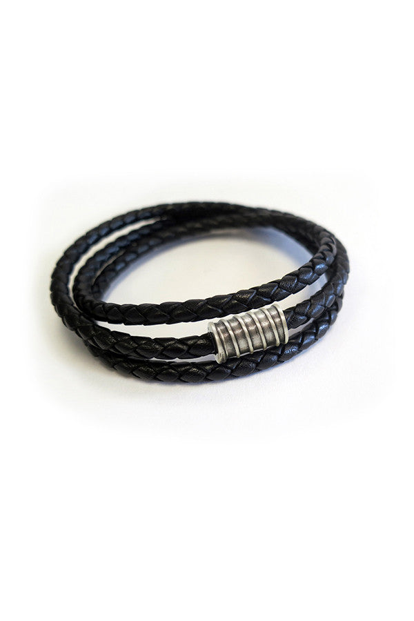Men's Bracelet Braided Leather Wrap w/ Screw