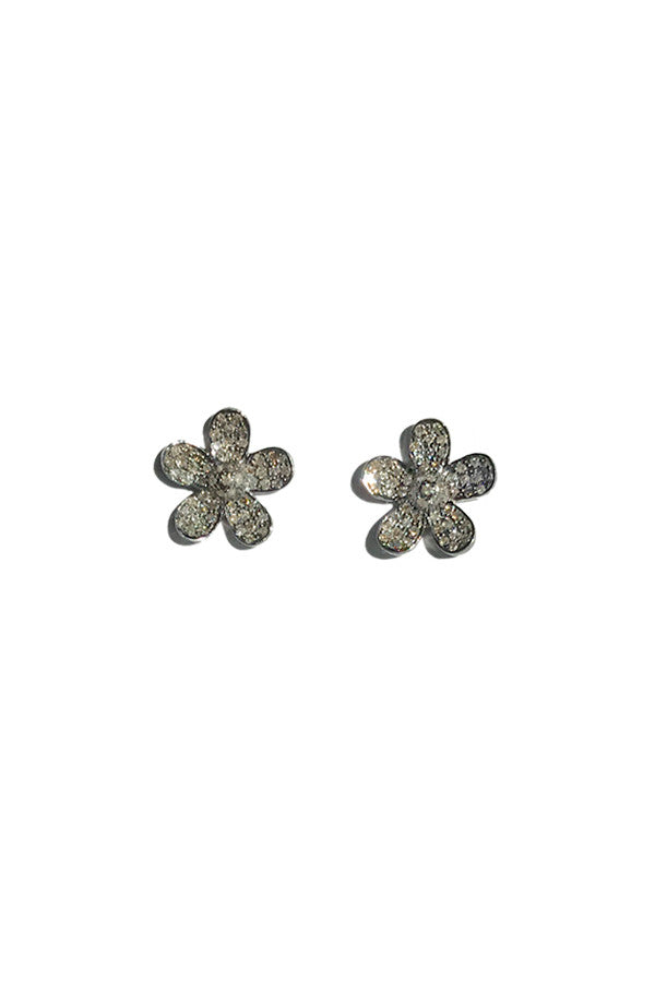Earring Diamond Silver Studs Pave Flower