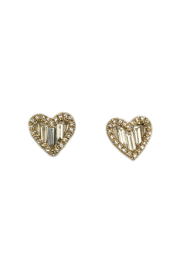 Yellow Gold Baguette Diamond Hearts