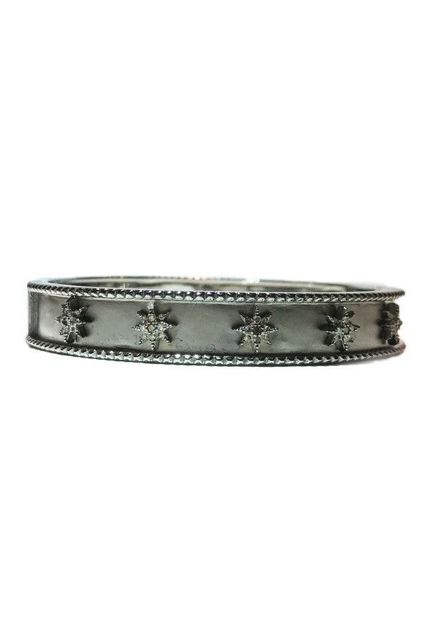 Bracelet Silver Diamond Bangle Mini Starbursts