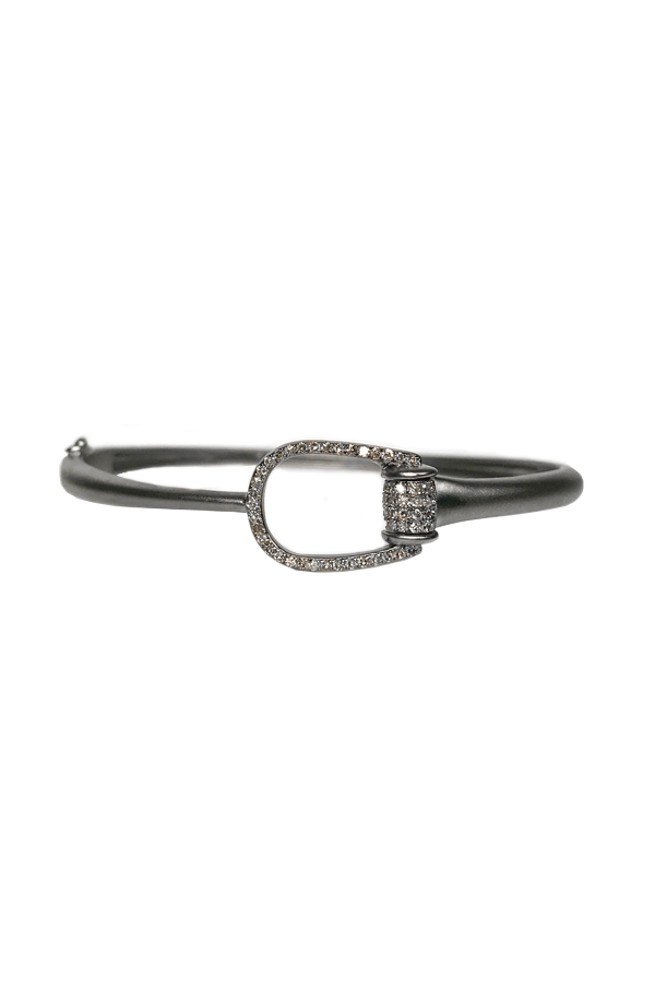 Silver Thin Diamond Buckle Bangle