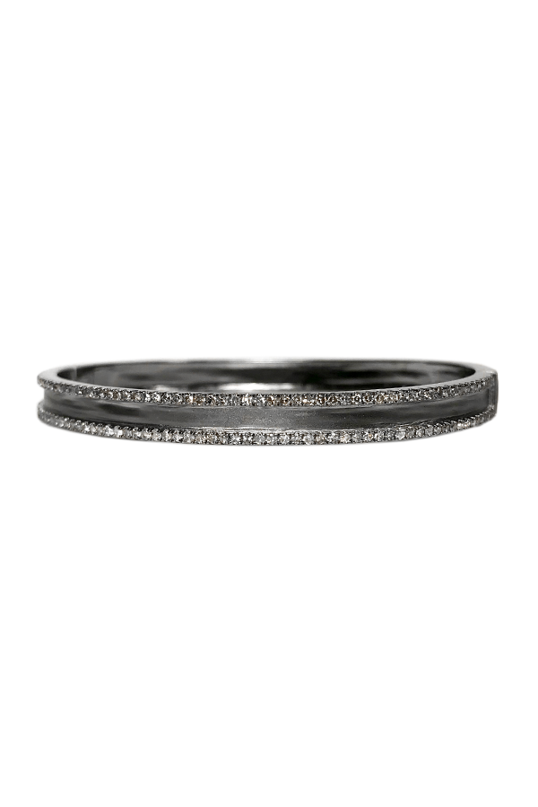 Silver Diamond Rows Bangle