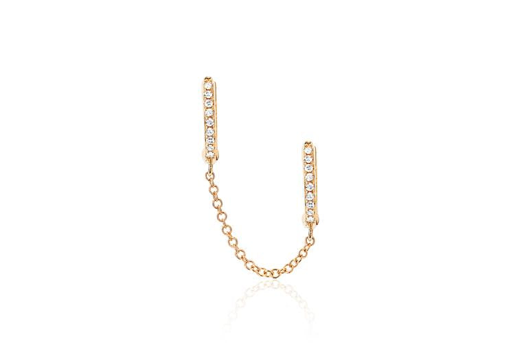 Diamond Double Huggie Chain Earring