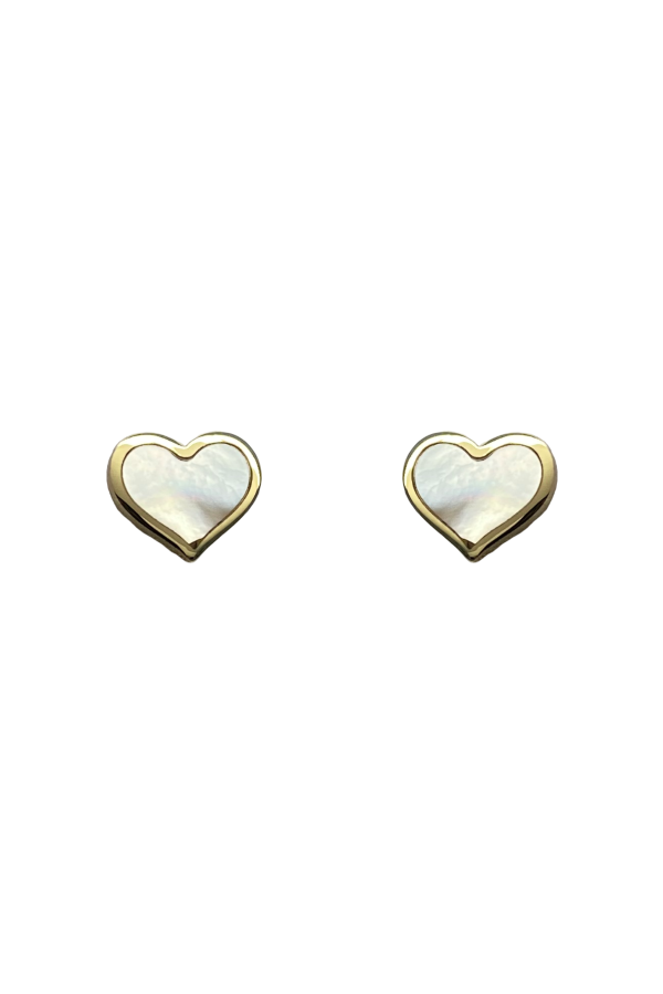 Gold Mother of Pearl Heart Earring