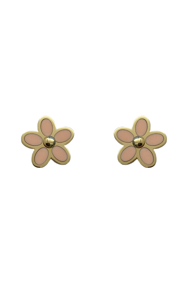 Gold Pink Agate Flower Earring