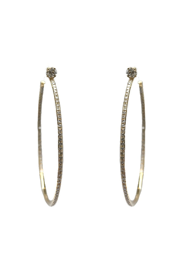 Gold Hoop w/ Pave Diamonds