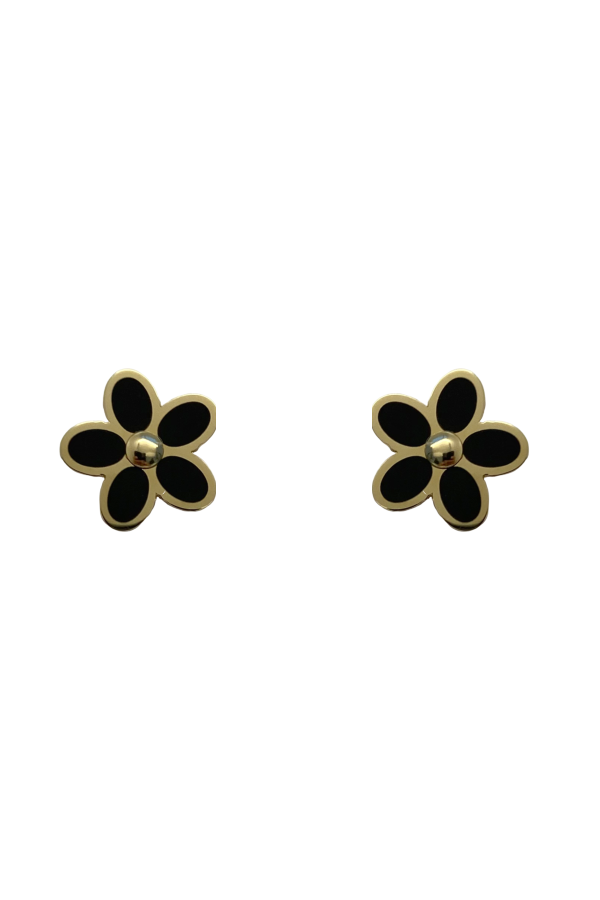 Gold Black Onyx Flower Earring