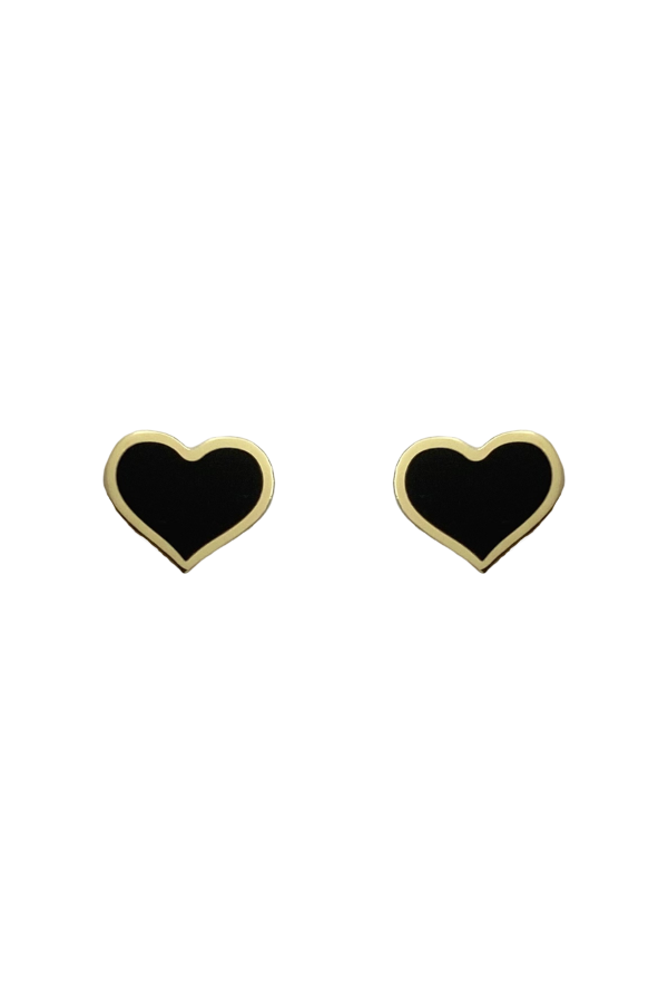 Gold Black Onyx Heart Earring