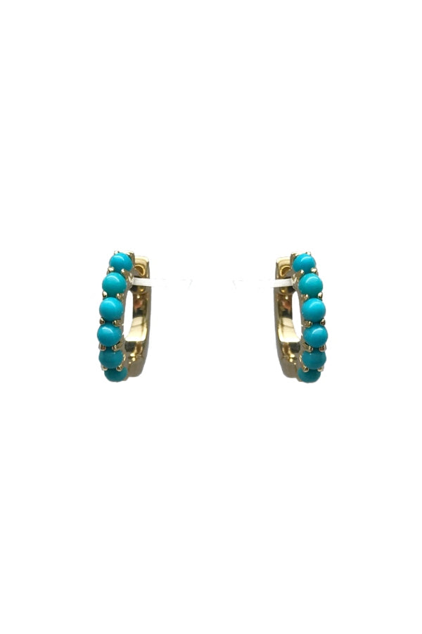 Gold Turquoise Mini Hoops