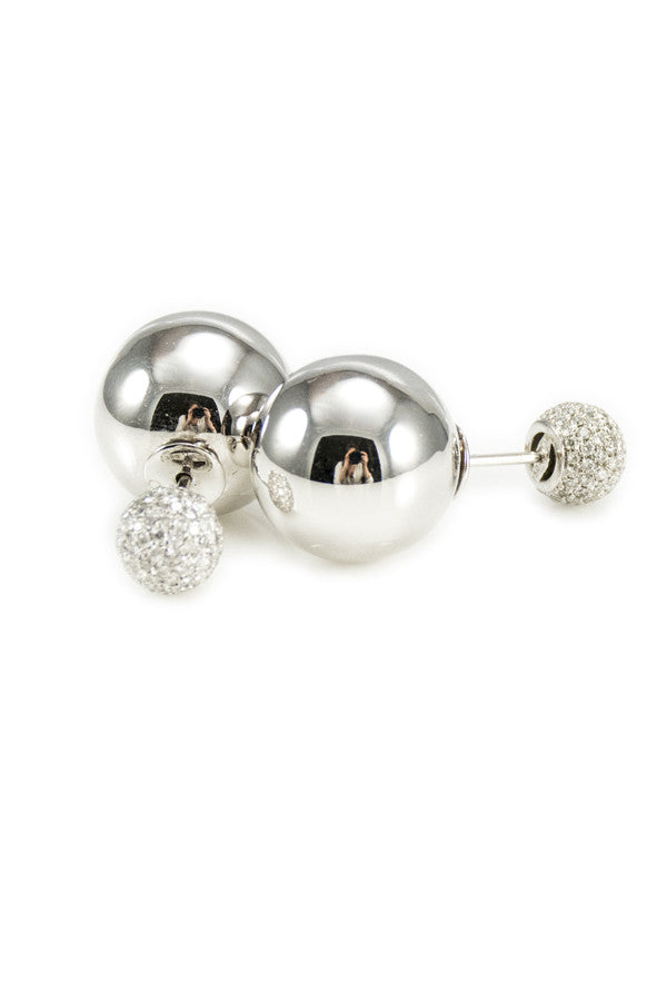 Earring Double Ball w/ Diamond Post