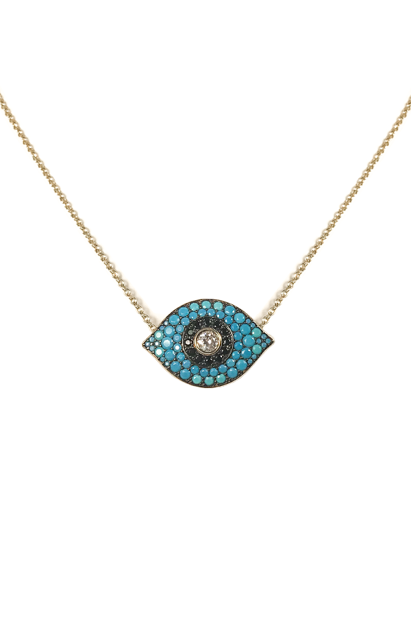 Turquoise & Gold Eye Necklace