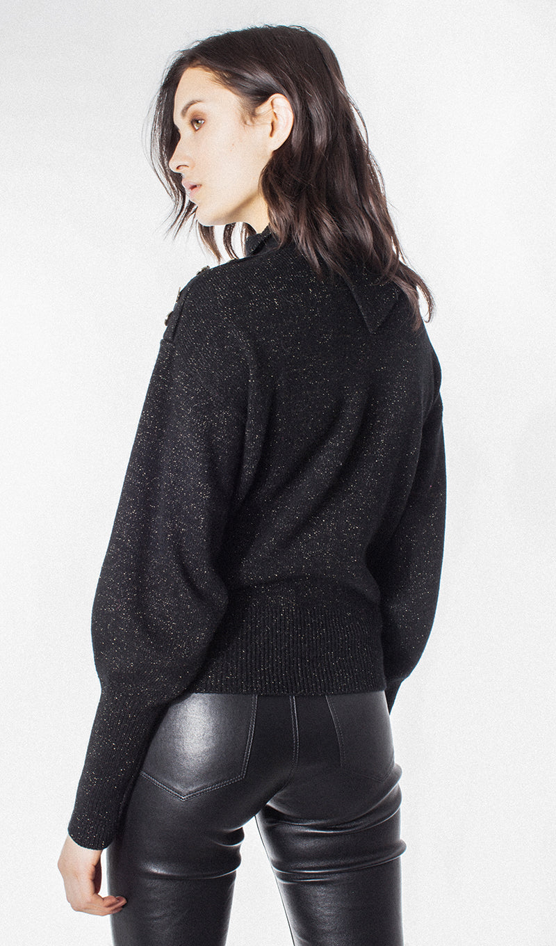 Black/Gold Buttons Turtleneck Sweater
