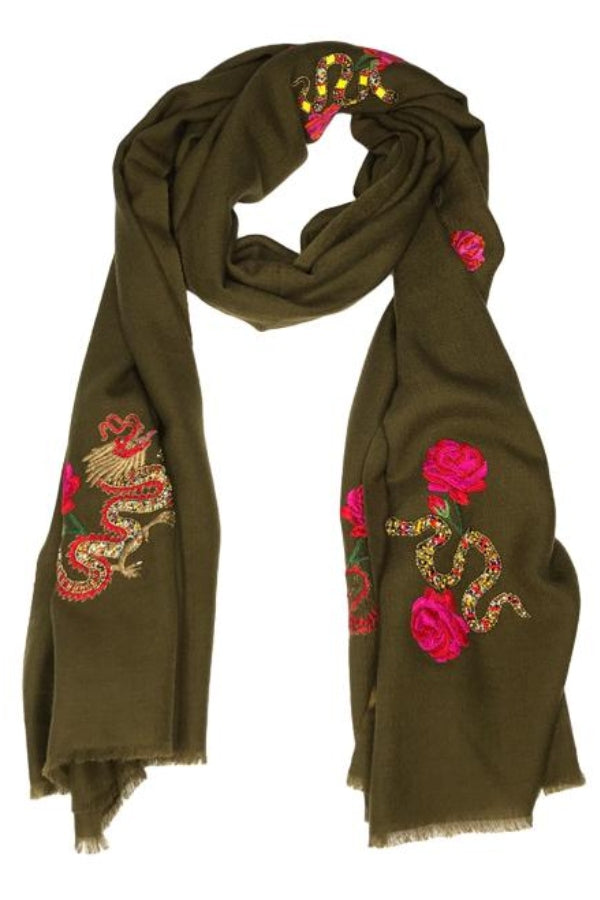 Snakes & Dragons Scarf Olive